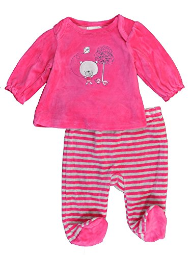 Absorba Baby-Girls Newborn Velour Footed Pant, Pink, 3-6 Months front-621313