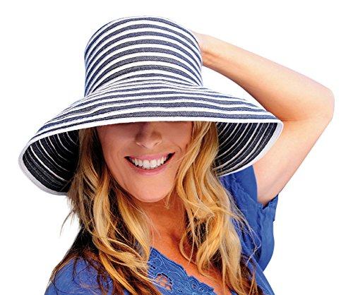 [Upturn Universal Ladies Sun / Beach Hat (Navy & White)] (Sailor Straw Hat)