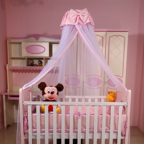 Baby Princess Canopy Crib Netting Toddler Hanging Mosquito Net Pink, Without Stand