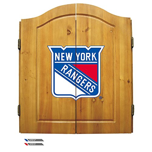 Nhl New York Rangers Team Dartboard Cabinet Set