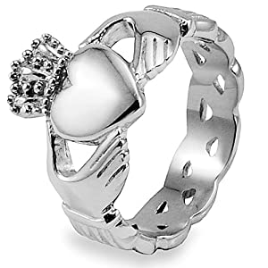 Stainless Steel Claddagh Ring with Celtic Knot Eternity Design (6.0mm) - Size 8.0