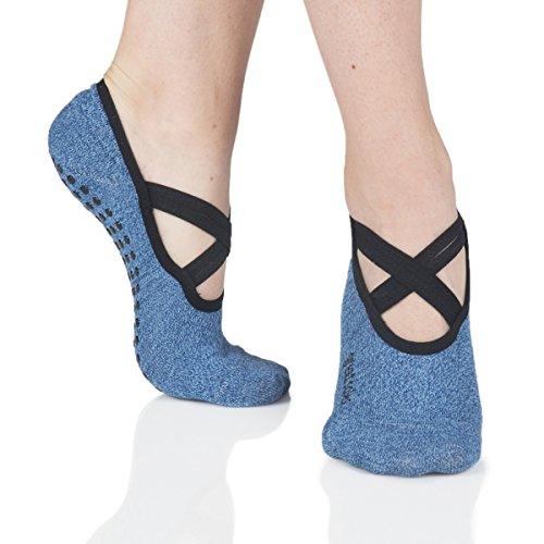 Great Soles Women's Ballet Grip Socks for Barre Pilates Yoga One Size (Juliet Denim)