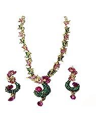Sneh Shimmery Green Stone Studded Mayur Designer Necklace Set For Women