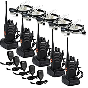 Retevis H-777 Walkie Talkie UHF 400-470MHz 16CH CTCSS/DCS 2 Way Radio (5 Pack) and Speaker Microphone (5 Pack) and 2 Pin Acoustic Tube Earpiece(5 Pack)