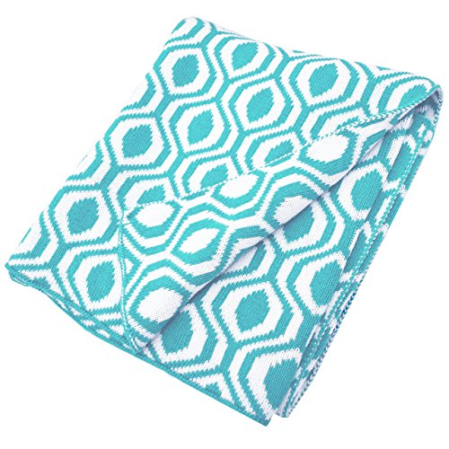 American Baby Company 100% Cotton Sweater Knit Blanket, Aqua Ogee