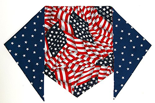 "Patriotic Bandana For Dogs (S) Ties On 9"" - 10"" Neck"