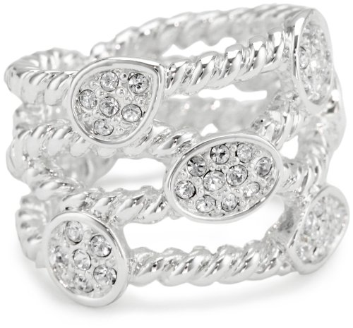 T Tahari Silver and Pave Crystal Rope Ring, Size 7