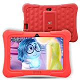 Dragon Touch Y88X Plus Kids Tablet 7 Inch Quad Core Android PC Tablet Android 5.1 Lollipop IPS Screen 1G RAM 8G ROM Wifi Bluetooth Camera Games Unlocked Version of Kidoz & Google Play Pre-Installed (With Red Silicone Adjustable Stand Case) [2017 New Model]