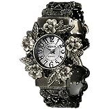 【フラワー フェイス】 花 モチーフ バングル 腕時計 白 フェイス ブレスレット 時計 (white)