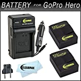 Clearmax Battery (2-Pack) and Charger for GoPro HD HERO3, HERO3+ and GoPro AHDBT-201, AHDBT-301