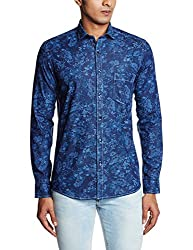 Easies Men's Casual Shirt (8907201620056_81369 E702UASFFSSC_Small_Print Blue Indigo)
