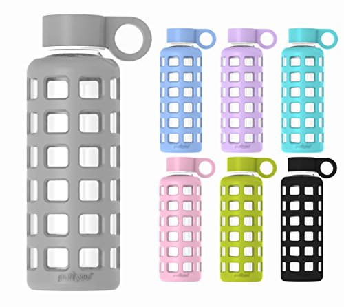 purifyou Premium Glass Water Bottle with Silicone Sleeve & Stainless Steel Lid Insert, 12 / 22 / 32 oz (Pastel Gray, 32 oz) (Glass Sports Bottle 32 Oz compare prices)