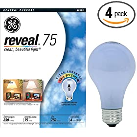 GE 48689 75-Watt A19 Reveal Bulbs, 4-Pack