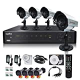 SANNCE D3708G31+C8142VDX4+HDD500GB 8 CH DVR H.264 Smartphone Network 480TVL 4pcs Bullet CCTV Security Cameras System with 500GB Hard Driver