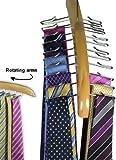 Premium Quality Wooden Tie Hanger Rack - Holds 24 Ties - Great Gift Idea