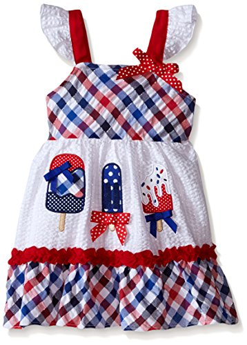 "Youngland Girls' Little Seersucker ""Americana"" Dress with Popsicle Applique, Red/White/Blue, 3"