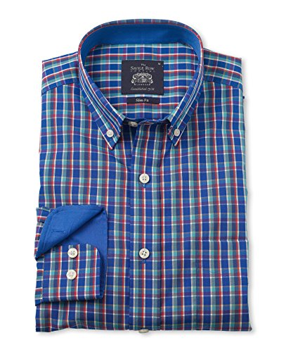 Savile Row Men's Multi Check Poplin Slim Fit Casual Shirt savile row men s blue red check short sleeve slim fit casual shirt
