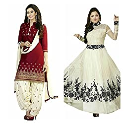 Sky Global Women's Printed Unstitched Regular Wear Salwar Suit Dress Material (Combo pack of 2)(SKY_DC_5006)(SKY_501_RED)(Dress_183_FreeSize_White)