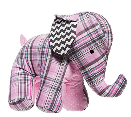 Pink Plaid and Chevron Elephant Patterned Cotton Plush
