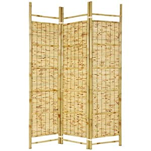 Oriental Furniture Tropical Beach Furniture Room Divider, 6-Feet Burnt Bamboo Japanese Shoji Portable Folding Privacy Floor Screen