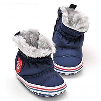 LiveBox Infant Baby Boys' Premium Soft Sole Anti-Slip Warm Winter Prewalker Toddler Boots