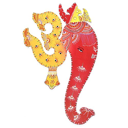 Om Ganesha Wall Hanging Indian Decor Painting - Yellow & Red base colours with Decorative Motifs