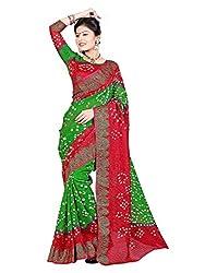 RadadiyaTRD Women Printed Bandhani Saree (GREEN_RED_B@ANDHNI_14GH)