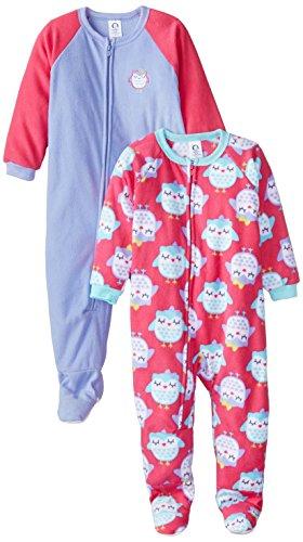 Gerber Little Girls' 2 Pack Blanket Sleepers, Owl, 4T