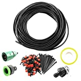 25m Micro Drip Irrigation System Plant Self Watering Garden Hose Kits Drippers (Green Faucet)