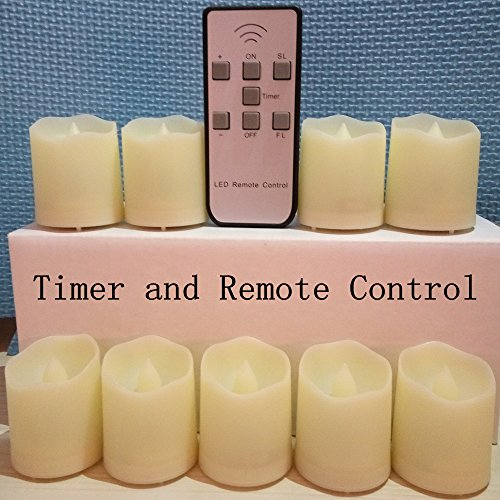 LAPROBING® 9 Pcs LED Battery Operated Flickering (Timer Feature) Flameless Candles 180+ Hours of Extended Timer Light with Remote Control for Wedding Decorations Centerpieces Birthday Parties
