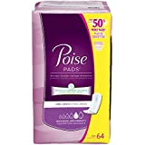Poise Maximum Absorbency Incontinence Pads, Long Length, 64 Count