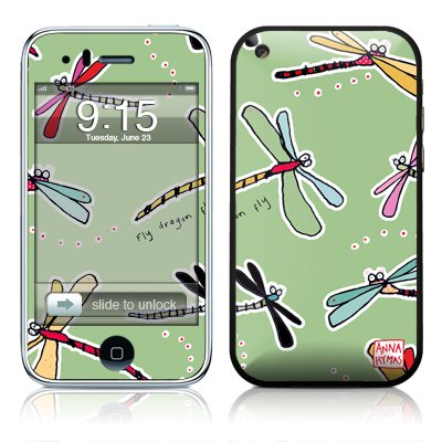 Dragon Fly Green Design Protector Skin Decal Sticker for Apple 3G iPhone / iPhone 3GS 3G S
