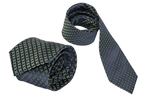 Cravatta uomo classica LANCETTI blu 100% seta con fantasia B436