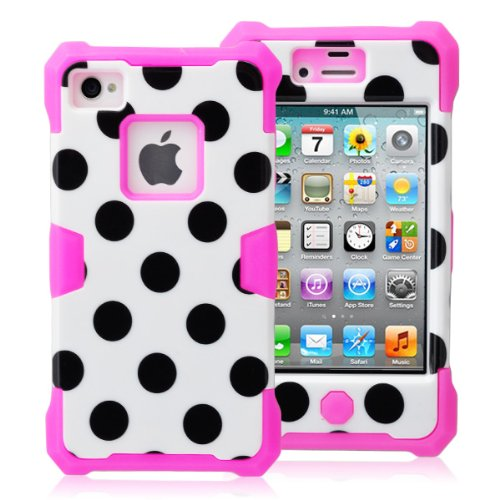 Magicsky Plastic + Silicone Hybrid White Polka Dot Design Glow Luminous Case For Apple Iphone 4 4S 4G - 1 Pack - Retail Packaging - Hot Pink