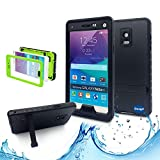 Samsung galaxy Note 4 IP-68 Untra Kick-stand Waterproof Case Cover ,Nika shop Swimming Diving New Full Body Crystal 6.6 Ft Underwater Attached Screen Protector Waterproof Water Resistant Heavy Duty Slim Case Cover for Samsung galaxy Note 4 Phone, Rugged Hard Armor Underwater Durable Full Body Sealed Protection Skin Pouch dirtproof dustproof Snowproof Sweatproof Shockproof Hard Armor Protective Heavy Duty Defender Built-in Screen Protector Rugged Cover Case for Samsung galaxy Note 4 +Free Screen Protect + Hand Strap - Retail Packaging(Nika shop-Black)