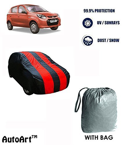 Fabtec Red & Blue Car Cover- Maruti Alto 800 (Tirpal)
