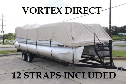 BRAND NEW VORTEX *TAN/BEIGE* 20' ULTRA 3 PONTOON/DECK BOAT COVER, HAS ELASTIC AND STRAPS FITS 18'1