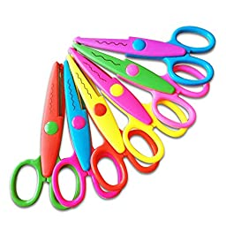 Jakpopin 5 Inch Length Creative Scissors, School Wave Lace Edge Scissors Assorted Colors for Scrapbook Crafts Photos Invitations and Gift Card, Set of 6 Pcs Different Edge Scissors
