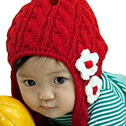 PanDaDa Baby Girl Floral Earflap Hat Knitted Cap Knit Beret Winter Scarf Beanie