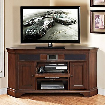 Belcourt Corner Tv Stand With Built-In Surround Sound