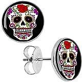 White Sugar Skull Stud Earrings