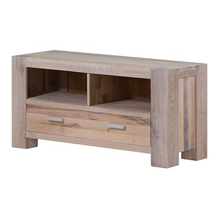 TV-Board Lowboard Braxton, Massivholz Holz Eiche massiv weiß gekälkt, Breite 133 cm, Tiefe 47 cm, Höhe 64 cm