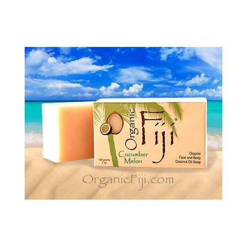 Organic Fiji Coconut Oil Soap, For Face And Body, 100% Certified Organic, Cucumber Melon, 7-Ounces