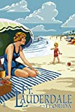 Ft. Lauderdale, Florida - Woman on the Beach (12x18 Collectible Art Print, Wall Decor Travel Poster)