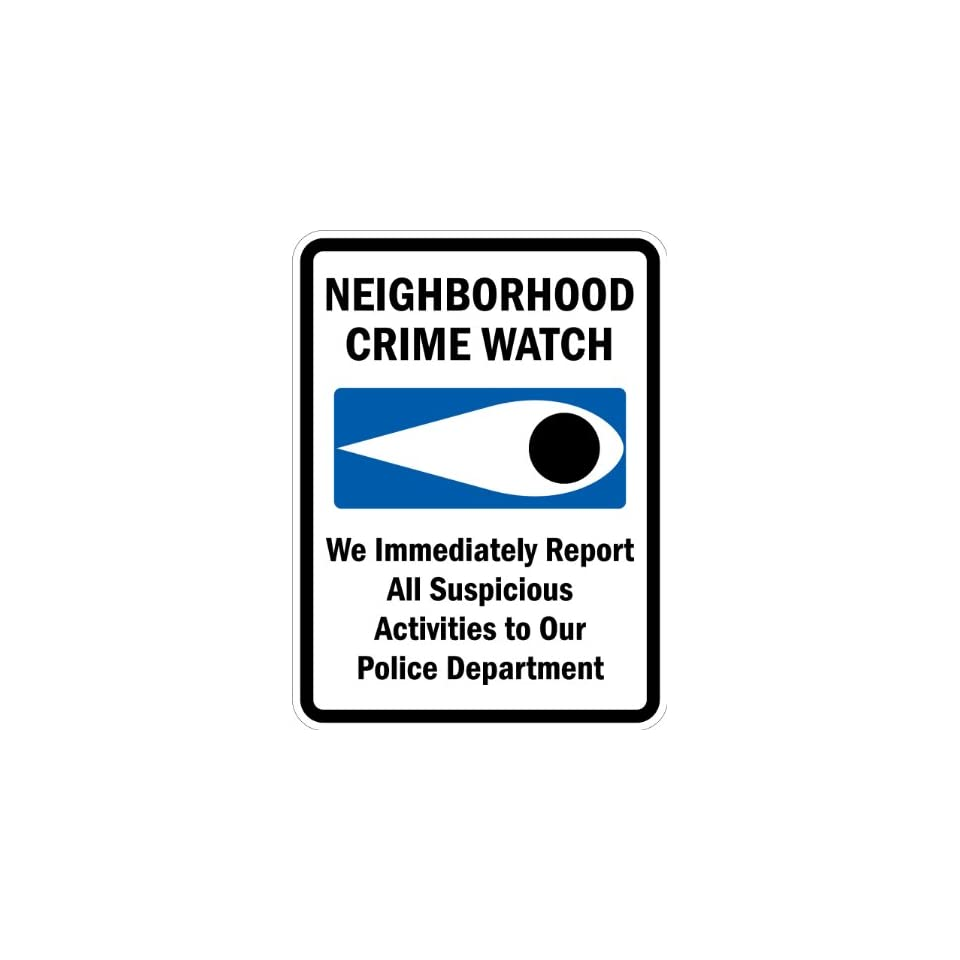SmartSign 3M Engineer Grade Reflective Sign, Legend Neighborhood Crime Watch   We Report To Police with Graphic, 24 high x 18 wide, Black/Blue on White