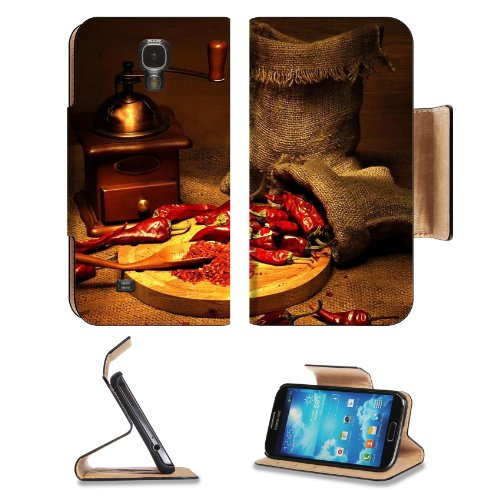 Pepper Red Coffee Grinder Sharp Chile Bags Samsung Galaxy S4 Flip Cover Case With Card Holder Customized Made To Order Support Ready Premium Deluxe Pu Leather 5 Inch (140Mm) X 3 1/4 Inch (80Mm) X 9/16 Inch (14Mm) Liil S Iv S 4 Professional Cases Accessori
