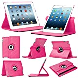 Stuff4 Leather Smart Case with 360 Degree Rotating Swivel Action and Free Screen Protector/Stylus Touch Pen for Apple iPad Mini/Mini Retina - Deep Pink