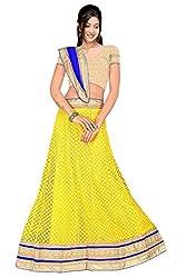 Pushty Fashion Yellow and Blue Brasso Lehnga