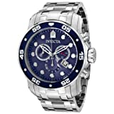 Invicta Pro Diver Men's Quartz Watch with Blue Dial Chronograph Display and Silver Stainless Steel Bracelet 0070