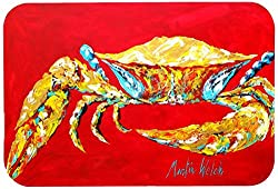 Carolines Treasures MW1116CMT Crab Blue on Red Sr. Kitchen or Bath Mat, 20 by 30 , Multicolor